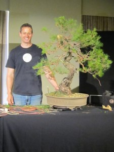 Ryan and a red pine from the National Bonsai and Penjing collection.